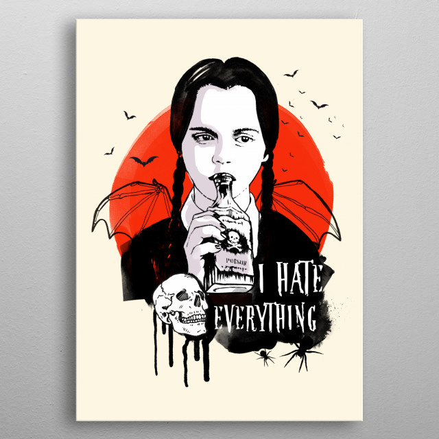Wednesday The Addams family art movie inspired metal poster