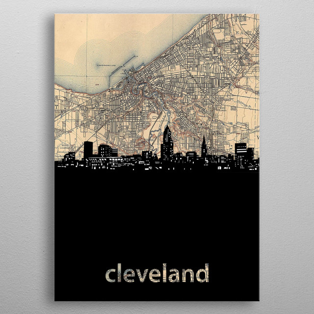 Cleveland skyline inspired by decorative,vintage,sepia,cartography,pop art design metal poster