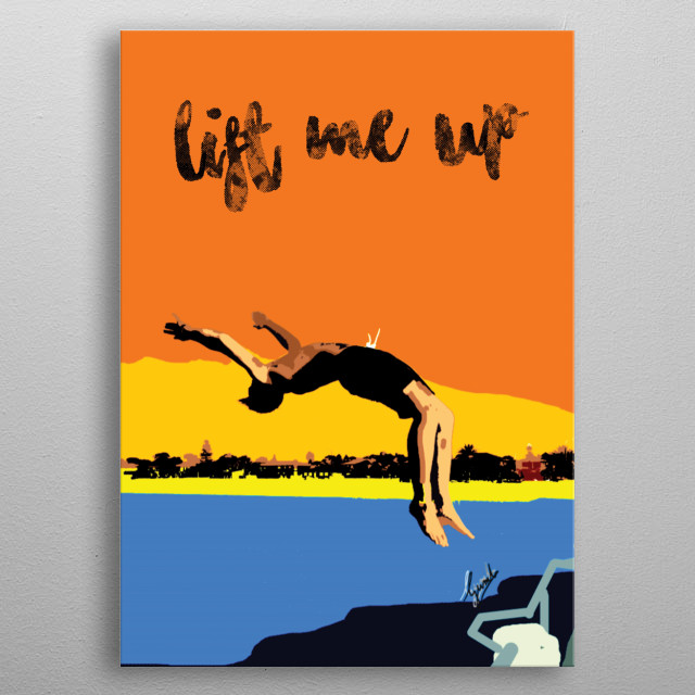 My mate jumping off a jetty into the ocean below. Snapped this and made a digital copy. He said that I should sell it when I showed him. metal poster