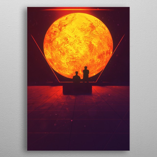 A travel in the deep space to find a new home. metal poster