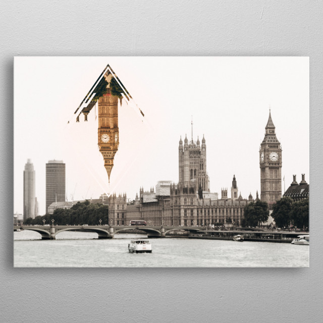 A poster of London with a work of graphic design on it. Belongs to the collection of aesthetic cities. metal poster