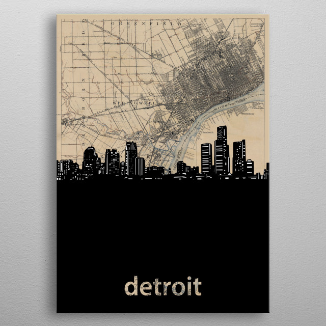 Detroit skyline inspired by decorative,vintage,sepia,cartography,pop art design metal poster