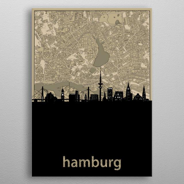 Hamburg skyline inspired by decorative,sepia,vintage,cartography,pop art design metal poster