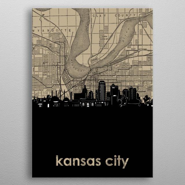 Kansas city skyline inspired by decorative,vintage,sepia,pop art design metal poster