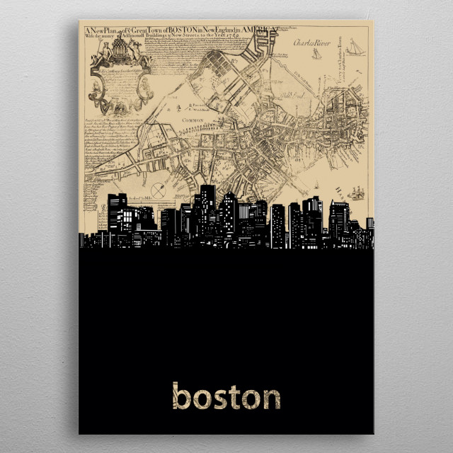 Boston skyline inspired by decorative,vintage,cartography,pop art design metal poster
