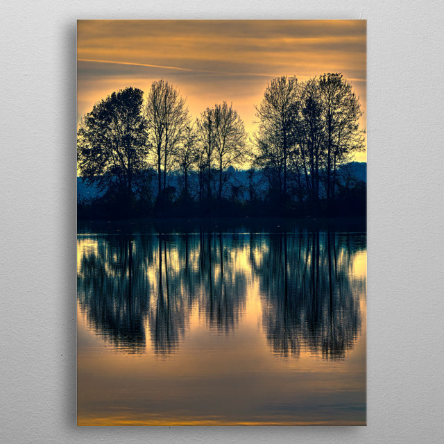 winter reflection on landscape lake metal poster