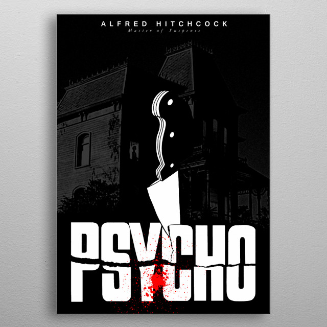Alfred Hitchcock-Master of Suspense-Psycho Movie - Retro Poster metal poster