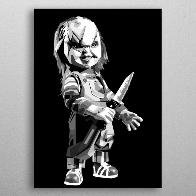 Chuky in grayscale uncurve style metal poster