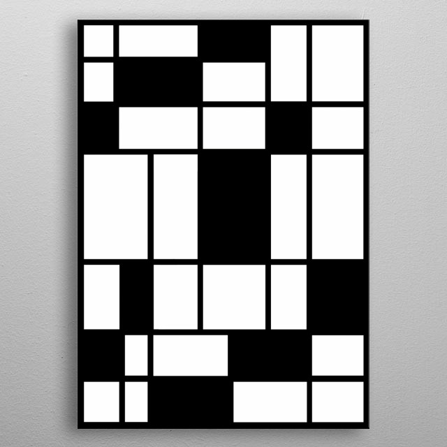 Abstract geometric design, inspired by Mondrian, in black and white by Rockett metal poster