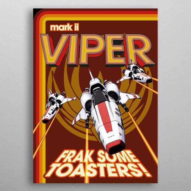 70s style poster of the Mark 2 Viper from Battlestar Galactica in a Maintenance Manual style. metal poster