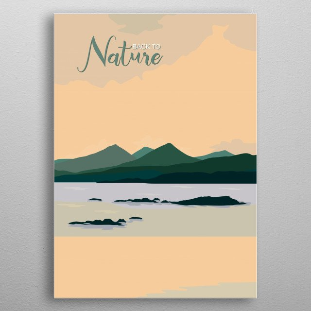 Flat design of mountains, sea and natural scenery metal poster