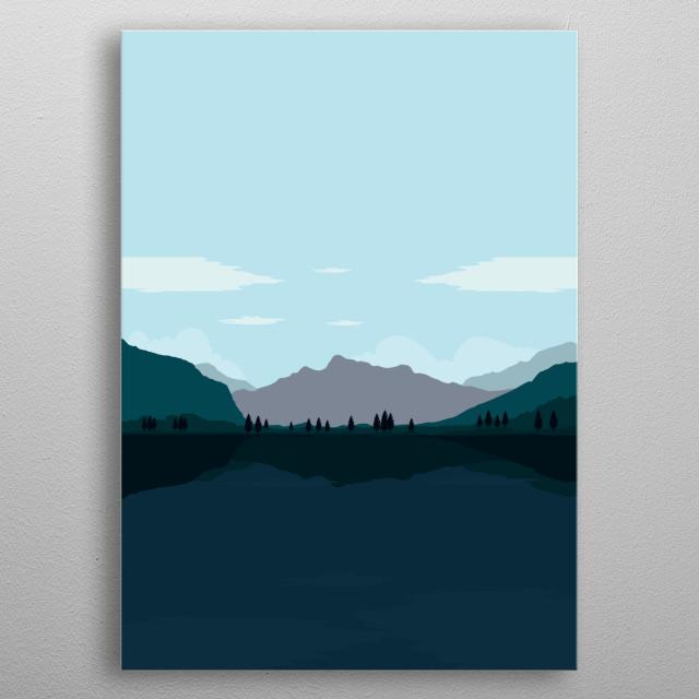 Minimalist design of mountain, lake and beautiful natural scenery metal poster