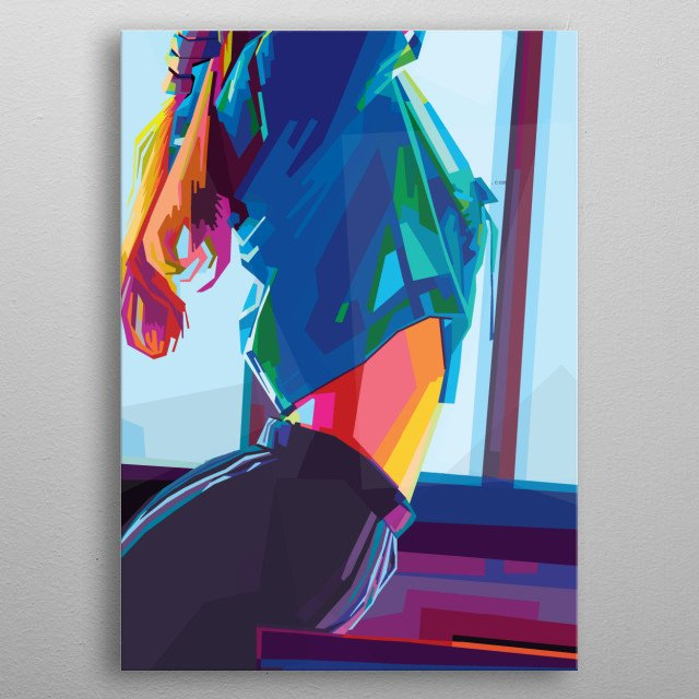 Sexy girl in style wpap pop art. Sexy girl colorful  metal poster