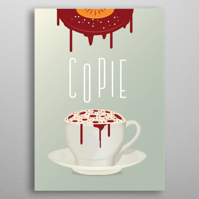 coffee and pie mix illustration  metal poster