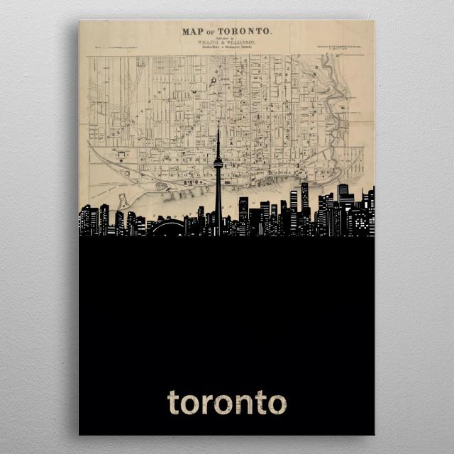 Toronto skyline inspired by decorative,sepia,vintage,cartography,pop art design metal poster