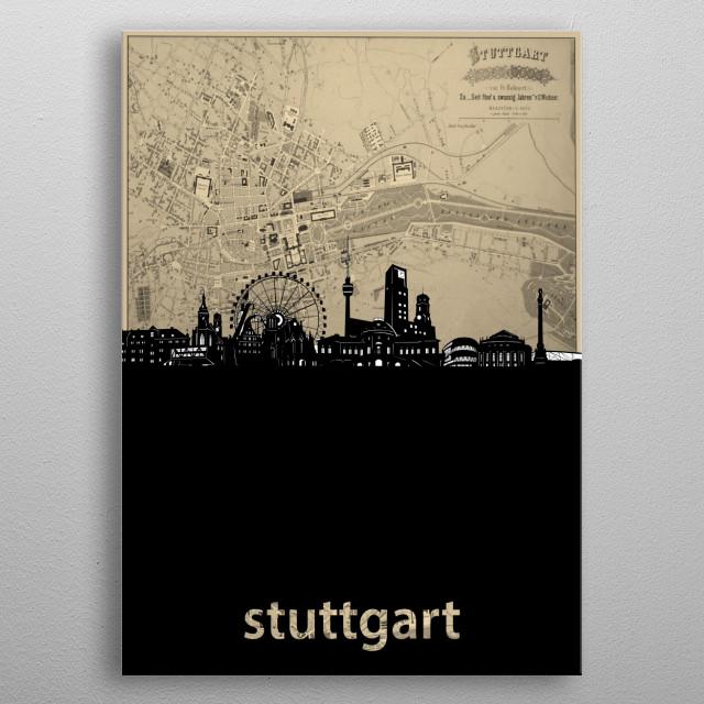 Stuttgart skyline inspired by decorative,sepia,vintage,cartography,pop art design metal poster