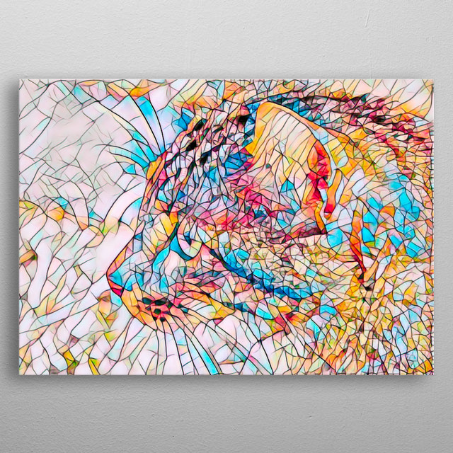 Happy bright colors flowing and a adorable kitten make up this beautiful abstract by Bob Orsillo. Copyright(c)Bob Orsillo /   metal poster