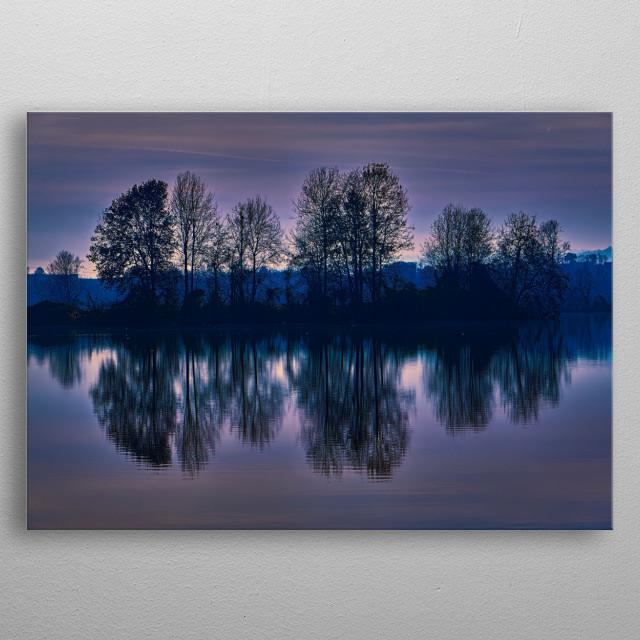 winter reflection on landscape lake metal poster