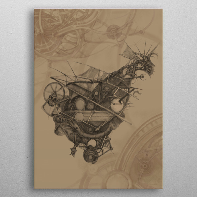 Since only an imaginary ship could be able to navigate the waves of imagination, this is what it could look like. From original drawing metal poster