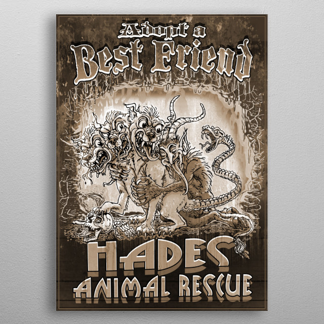 Thanks To The Hades Animal Rescue. Adopt a Best Friend Features Vintage Krampus Hugging Three Headed Dog Cerberus in a Fiery Underworld.   metal poster