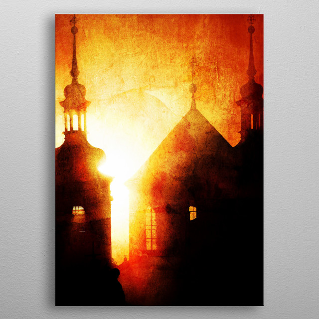 Landscape digitally manipulated to get a more modern look and feel. metal poster