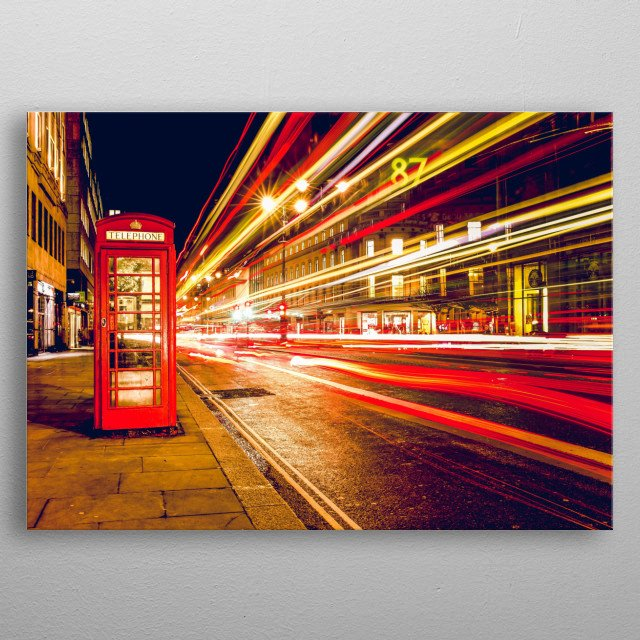 A unique shot of a retro telephone booth in London. Awesome bar, door room or personal home decor display. metal poster
