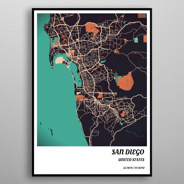 Vintage San Diego Map.San Diego Vintage Map By Vedran M Metal Posters Displate