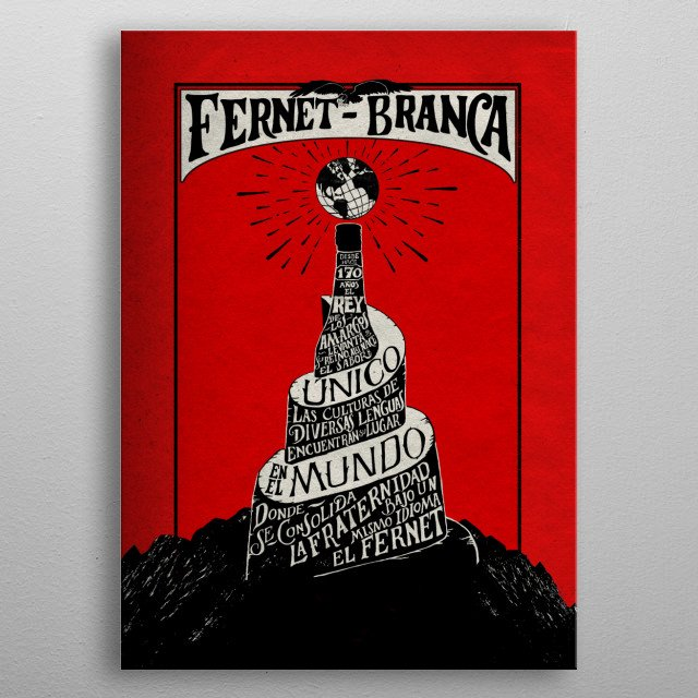 Art based on the Fernet Branca drink from Italy metal poster
