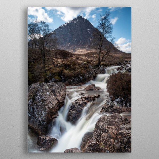 Buachaille Etive Mor with small waterfalls in the foreground taken in Glencoe during spring time metal poster