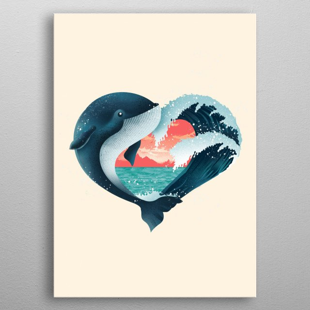 Love Whale metal poster