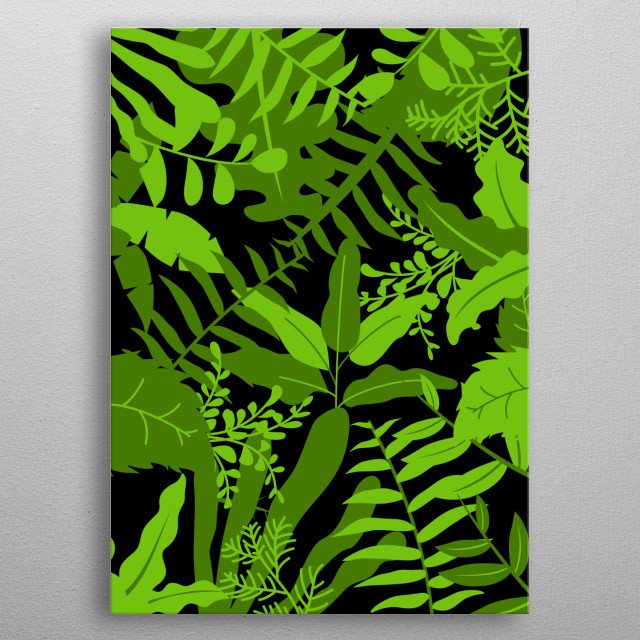 artwork of botanical leaves for green and  inspirational room metal poster