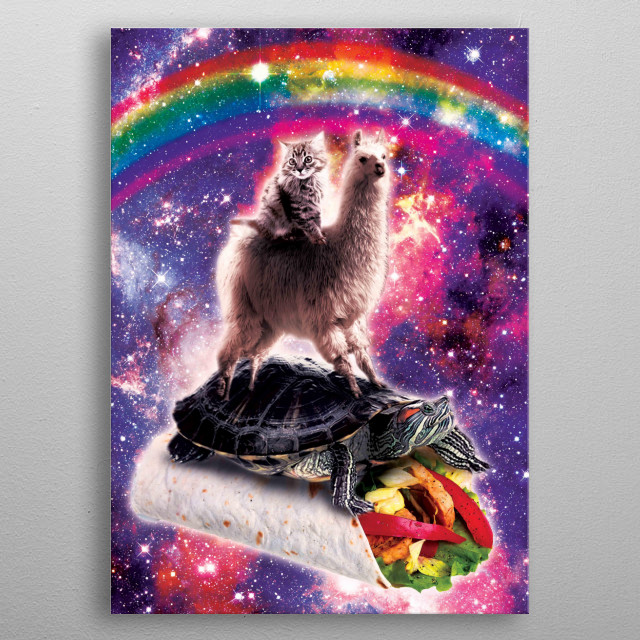 Pick up this funny outer space galaxy cat riding llama riding turtle on burrito design. metal poster
