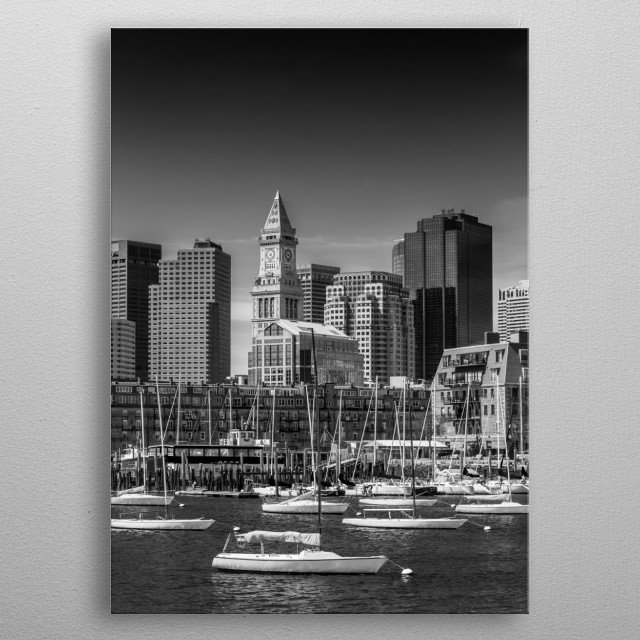 A boat trip along the Boston shoreline. Idyllic view towards the skyline of North End and the modern skyscraper of Financial District. metal poster