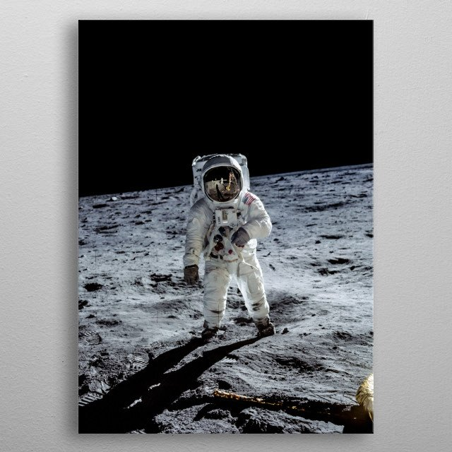 Buzz Aldrin walking on the Lunar surface during the Apollo 11 Moonlanding. metal poster
