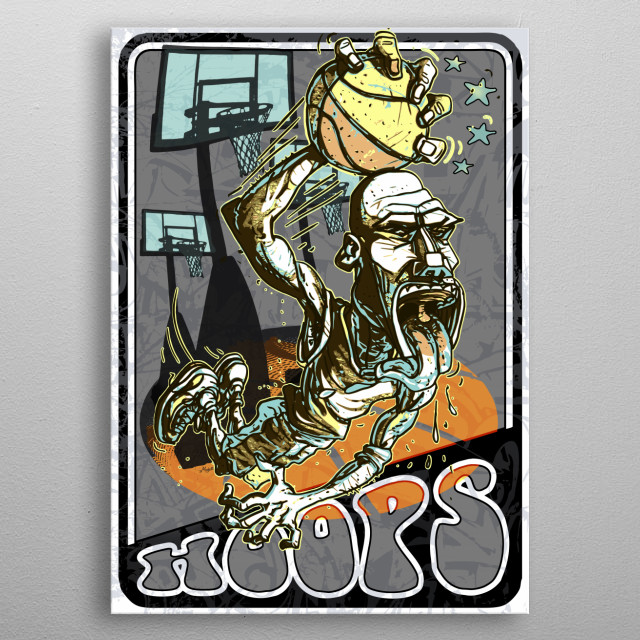 Streetballer Hoops Star features Old School Basketball Air Walker Ready to Slam Dunk the Rock. Sports Art for Man Cave or Kid's Room. metal poster