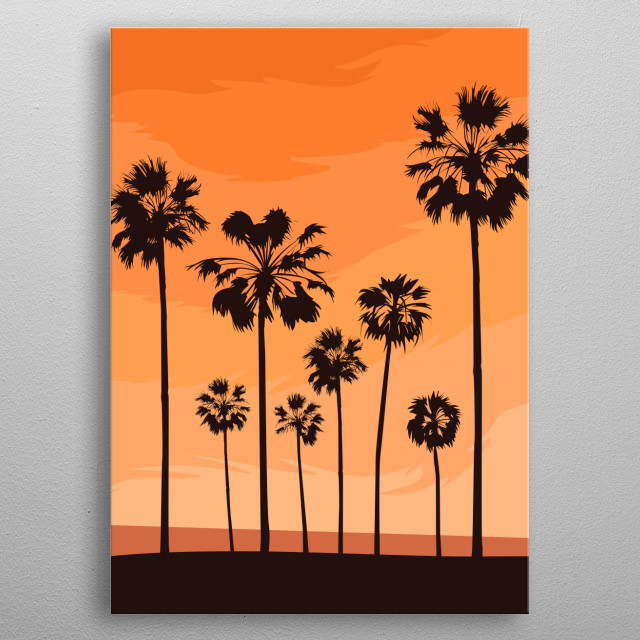 Inspired by Tropical palm trees in Miami metal poster