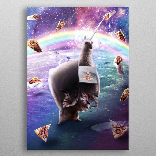 Pick up this funny fat pizza llamacorn design. metal poster