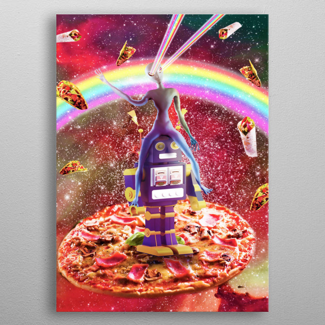 Pick up this funny rainbow galaxy design. metal poster