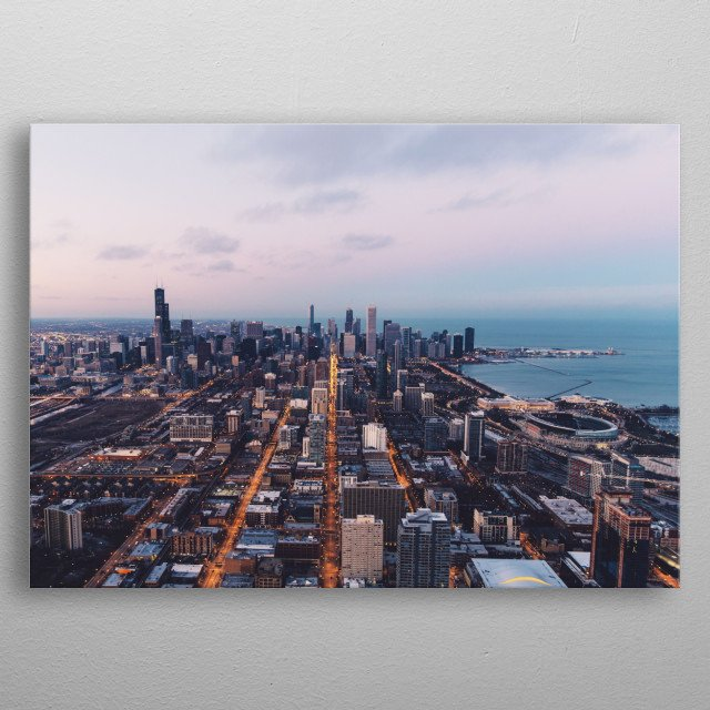The Chicago Skyline next to Lake Michigan. metal poster