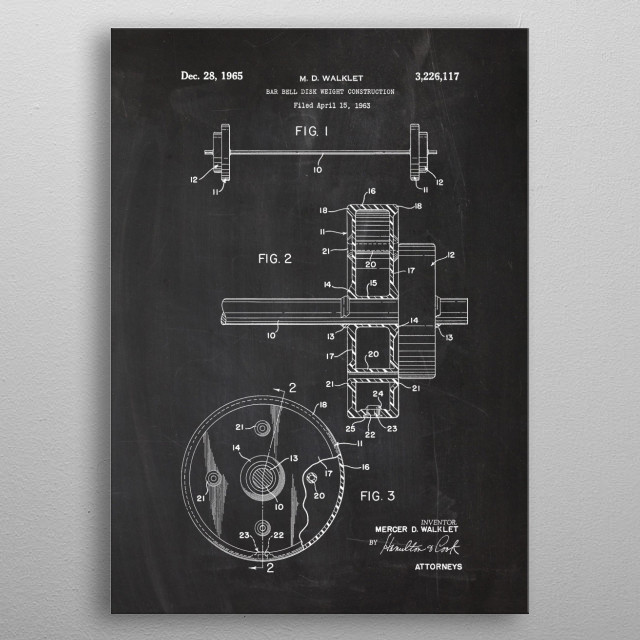 1963 Bar Bell Disk Weight Construction - Patent Drawing metal poster