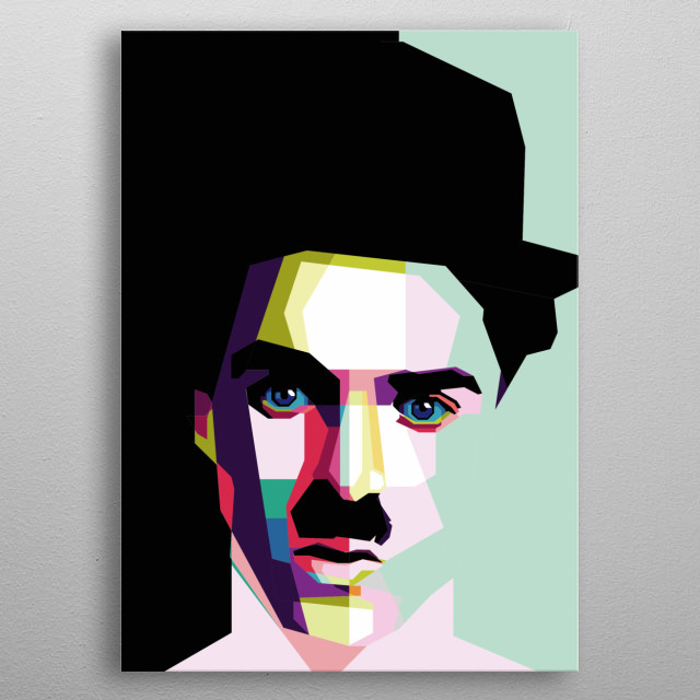 """Sir Charles Spencer """"Charlie"""" Chaplin, KBE (born 16 April 1889 - died December 25, 1977 at the age of 88) is a composer, filmmaker. metal poster"""