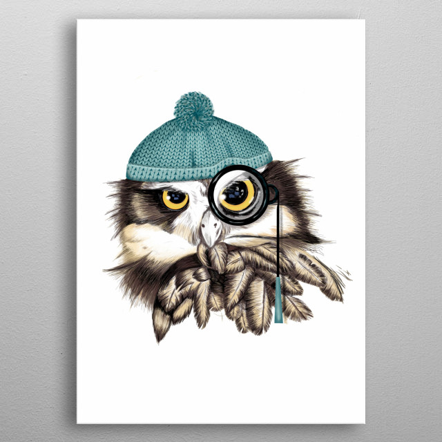 Digital illustration of the head of an owl, this bird is personified as a pirate with a wool cap and a monoculus metal poster