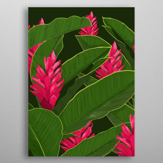 Digital illustration inspired by the tropical humid forest of South America where many varieties of exotic flowers exist metal poster