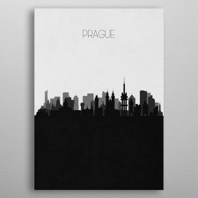 Black and white skyline illustration of Prague, Czech Republic. This minimalist poster features famous landmarks and buildings of the city. metal poster