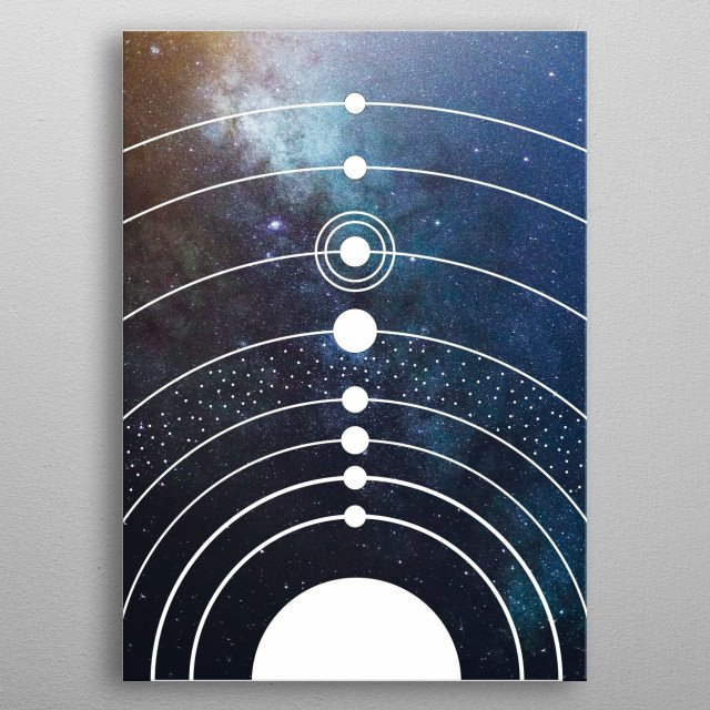 This  artwork illutrates our solar system with 8 planets and the sun in a minimal way metal poster