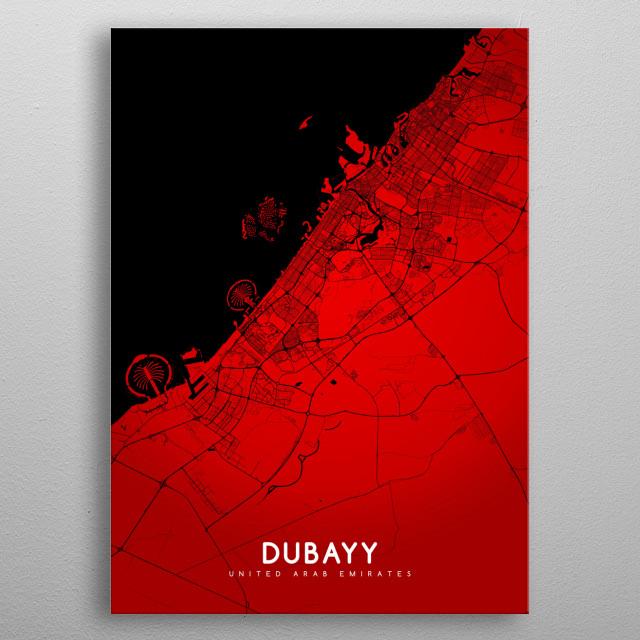 Dubayy map (english) metal poster