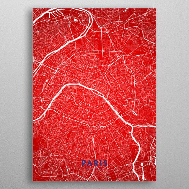 Paris map (flag colors edition) metal poster