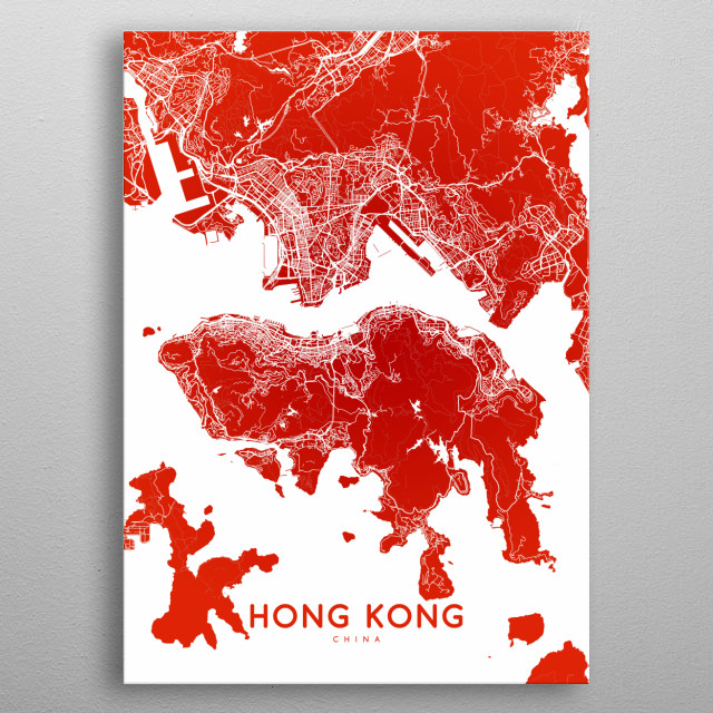 Hong Kong map (english) metal poster