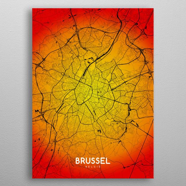 Brussel map metal poster