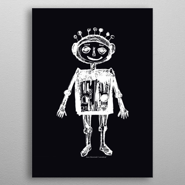 Black-white illustration, drawing of little robot, cute design for children, kids, for boys. minimalistic, lovely white and black sketching. metal poster